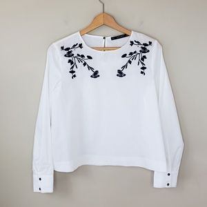 Zara Basic Frog Embroidered White Blouse